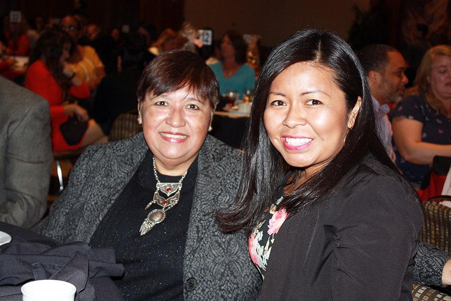 Bertha Hernandez from Chicana/o Studies and Velma Calvario from Center for Asia and Pacific Studies